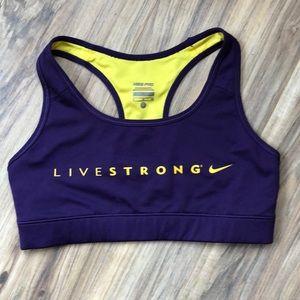 Nike Live Strong Purple & Yellow Sports Bra S